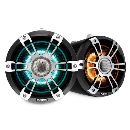 "Fusion Sg-flt772spc 7.7"""" Tower Speaker Chrome With Crgbw Lighting"