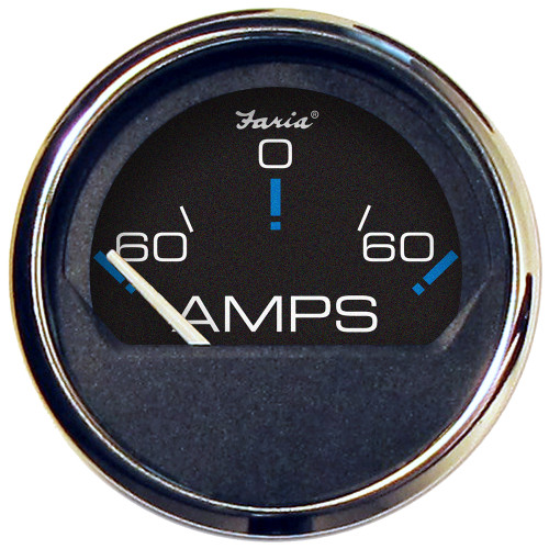 """Faria Chesapeake Black SS 2"""" Ammeter Gauge - -60 to +60 AMPS"""