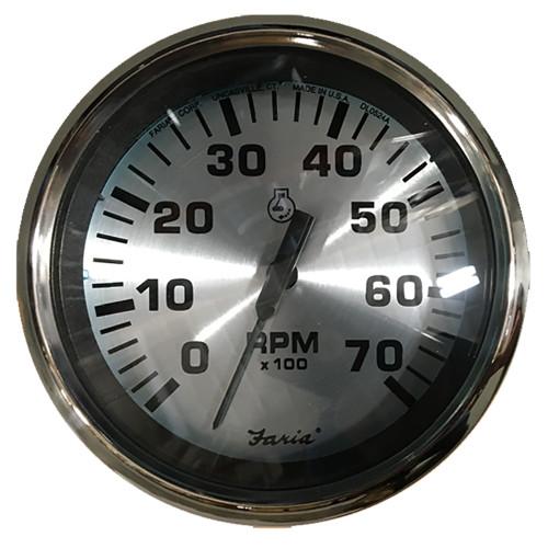 "Faria Spun Silver 4"" Tachometer (7000 RPM) (Outboard)"