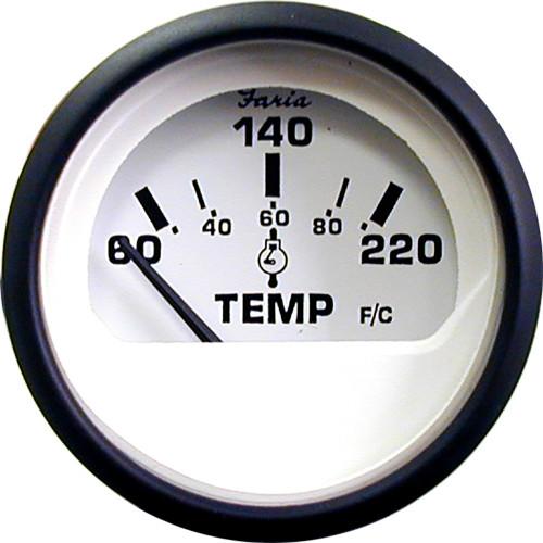 "Faria Euro White 2"" Cylinder Head Temperature Gauge (60 - 220 F)"