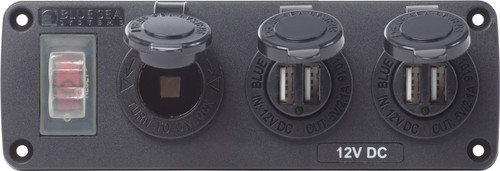 Blue Sea Water-resistant 12v 15a Circuit Accessory Panel 12v Socket And Dual Usb X 2