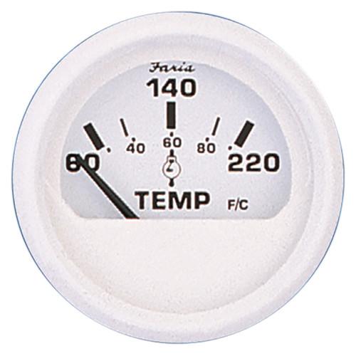 "Faria Dress White 2"" Cylinder Head Temperature Gauge (60 - 220 F)"