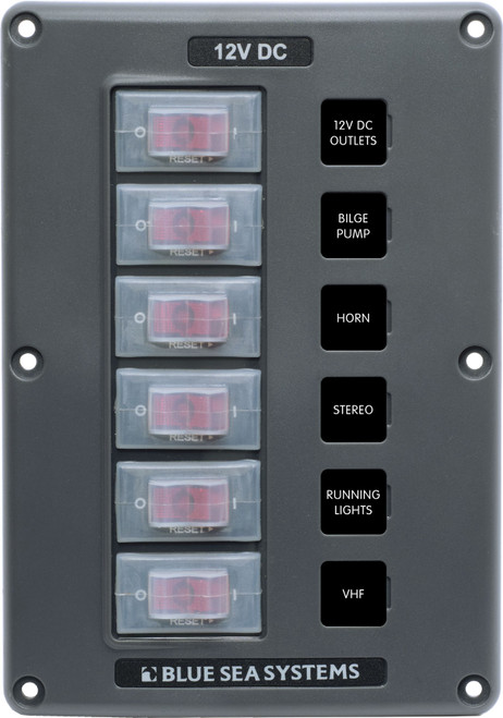 Blue Sea Water-resistant 12v 6 Circuit Breaker Switch Panel