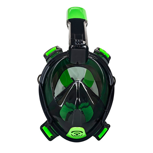 """Aqua Leisure Frontier Full-Face Snorkeling Mask - Adult Sizing - Eye to Chin  4.5"""" - Green\/Black"""