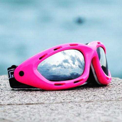 Classic Pink Neon Frame/Smoke Lens Goggles PWC Jetski Ride & Race