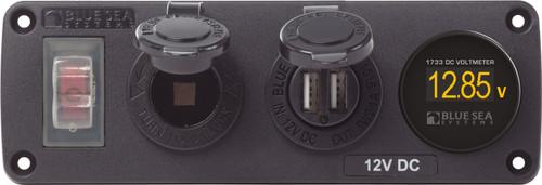 Blue Sea Water-resistant 12v 15a Circuit Accessory Panel Socket, Dual Usb, Volt Meter