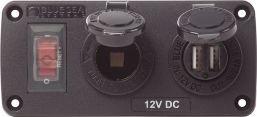 Blue Sea Water-resistant 12v 15a Circuit Accessory Panel With 12v Socket And Dual Usb