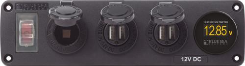 Blue Sea Water-resistant 12v 15a Circuit Accessory Panel Socket, 2-dual Usb, Volt Meter