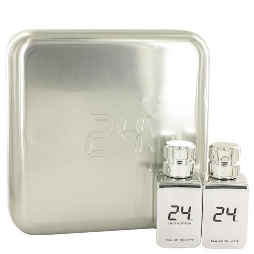 24 Platinum The Fragrance by ScentStory Gift Set -- 24 Platinum 1.7 oz Eau De Toilette Spray + 24 Platinum Oud 1.7 oz Eau De Toilette Spray for Men