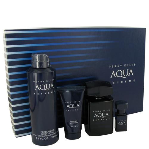 Perry Ellis Aqua Extreme by Perry Ellis Gift Set -- 3.4 oz Eau De Toilette Spray + .25 oz Mini EDT Spray + 6.8 oz Body Spray + 1.7 oz Shower Gel for Men