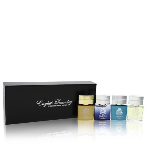 Oxford Bleu by English Laundry Gift Set -- Gift Set includes Notting Hill, Riviera, Oxford Bleu, and Arrogant, all in .68 oz Mini EDP Sprays for Men