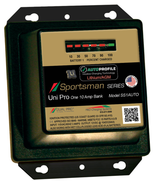 Dual Pro Ss1auto Battery Charger, Auto Profile 1 Bank 10 Amps