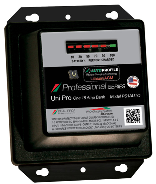 Dual Pro Ps1auto  Battery Charger, Auto Profile 1 Bank 15 Amps