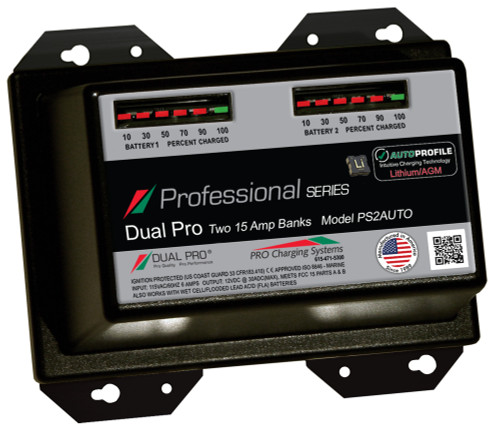 Dual Pro Ps2auto Battery Charger, Auto Profile 2 Bank 30 Amps