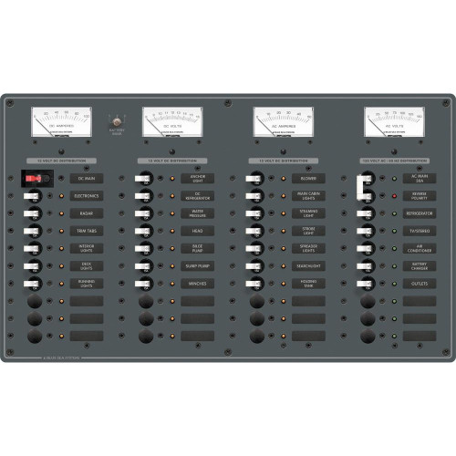 Blue Sea 8095 AC Main +8 Positions \/ DC Main +29 Positions Toggle Circuit Breaker Panel   (White Switches)