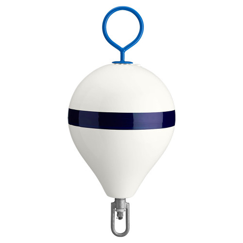 "Polyform Mooring Buoy w\/Iron 13.5"" Diameter - White Blue Stripe"