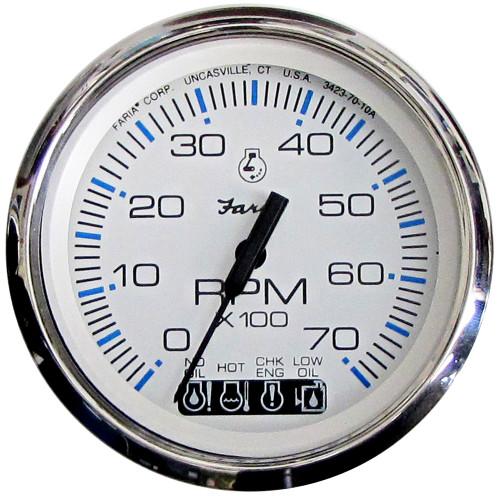 "Faria Chesapeake White SS 4"" Tachometer w\/Systemcheck Indicator - 7000 RPM (Gas) (Johnson\/Evinrude Outboard)"
