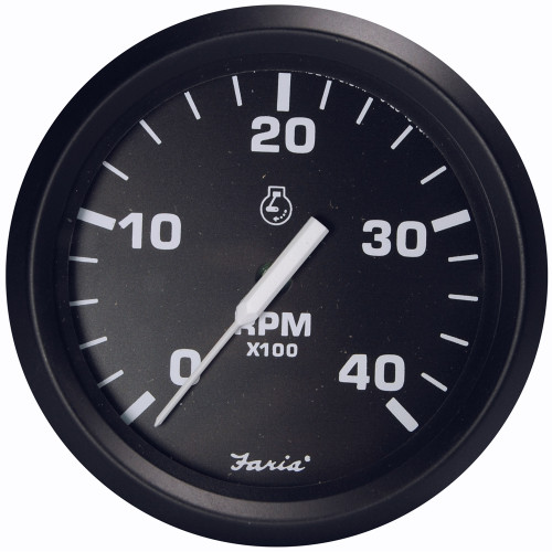 "Faria Euro Black 4"" Tachometer - 4000 RPM (Diesel - Magnetic Pick-Up)"