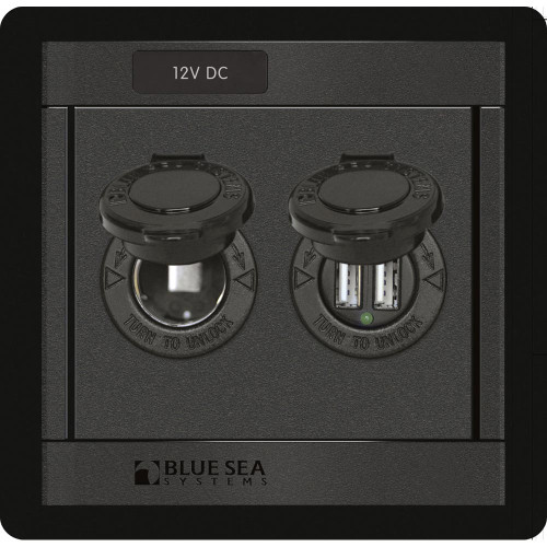 Blue Sea 1478 360 Panel - 12V DC Socket & Dual USB Charger