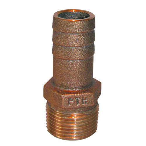"""GROCO 1-1\/4"""" NPT x 1-1\/4"""" ID Bronze Pipe to Hose Straight Fitting"""