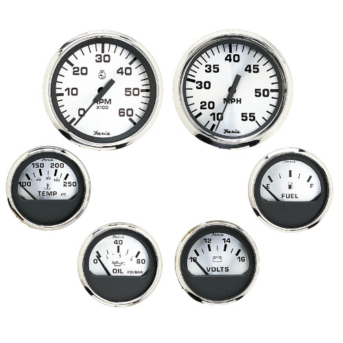Faria Spun Silver Box Set of 6 Gauges f\/ Inboard Engines - Speed, Tach, Voltmeter, Fuel Level, Water Temperature  Oil