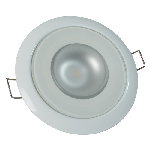 Lumitec Mirage - Flush Mount Down Light - Glass Finish/White Bezel - 4-Color White/Red/Blue/Purple Non Dimming