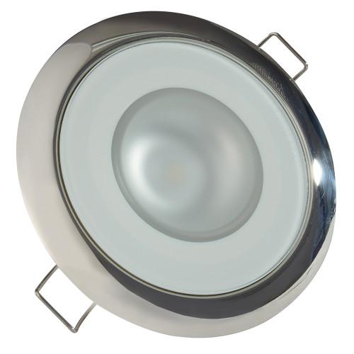 Lumitec Mirage - Flush Mount Down Light - Glass Finish/Polished SS Bezel - White Non Dimming