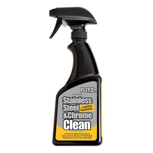 Flitz Stainless Steel & Chrome Cleaner w/Degreaser - 16 oz. Spray