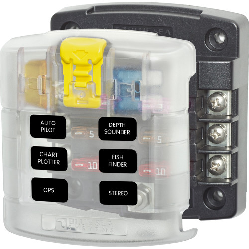 Blue Sea 5028 ST Blade Fuse Block w\/ Cover - 6 Circuit without Negative Bus