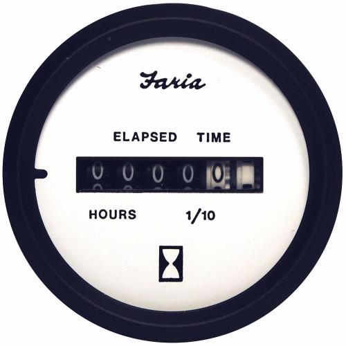 Faria Euro White 2 Hourmeter (10,000 Hrs) (12-32 VDC)