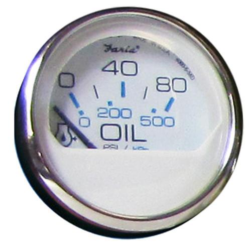 Faria Chesapeake White SS 2 Oil Pressure Gauge - 80 PSI