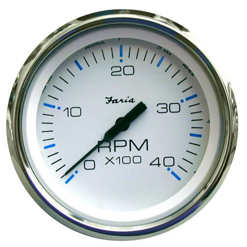 Faria Chesapeake White SS 4 Tachometer - 4,000 RPM (Diesel - Mechanical Takeoff & Var Ratio Alt)
