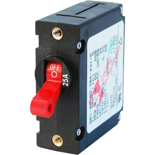 Blue Sea 7217 AC / DC Single Pole Magnetic World Circuit Breaker  -  25 Amp Red