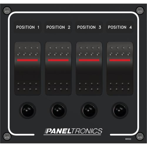 Paneltronics Waterproof Panel - DC 4-Position Illuminated Rocker Switch & Circuit Breaker