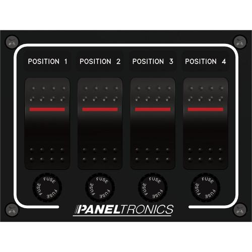 Paneltronics Waterproof Panel - DC 4-Position Illuminated Rocker Switch & Fuse