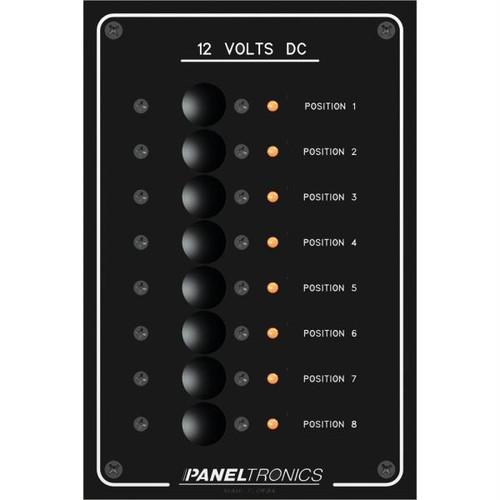 Paneltronics Standard Panel - DC 8 Position Circuit Breaker w/LEDs