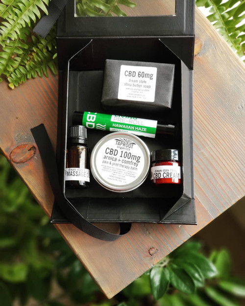 Dreamstate, CBD, $60, Gift Set, CBD Balm, CBD Massage Oil, CBD Preroll, CBD Soap, CBD Cream, Great CBD Gift Ideas