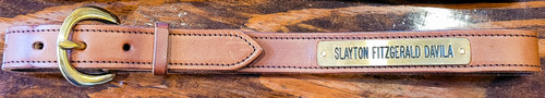 Solid Brass Hardware and deeply engraved name plate and expertly stitched construction. These belts are made to last a life time.
