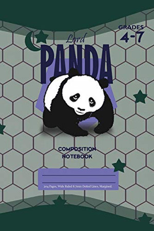 Lord Panda Primary Composition 4-7 Notebook, 102 Sheets, 6 x 9 Inch Olive Green Cover