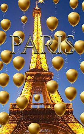 paris Eiffel Tower blue sky Gold Balloons blank journal