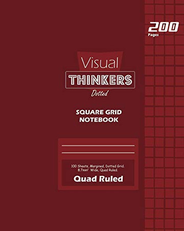 Visual Thinkers Square Grid, Quad Ruled, Composition Notebook, 100 Sheets, Large Size 8 x 10 Inch Red Cover