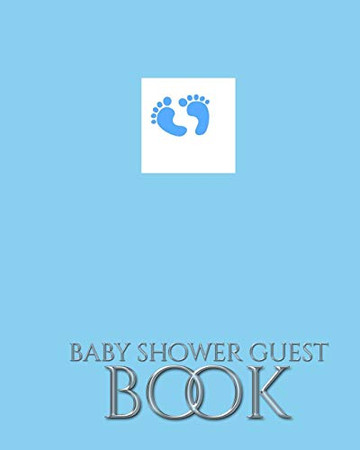 Baby Boy Foot Prints Stylish Shower Guest Book