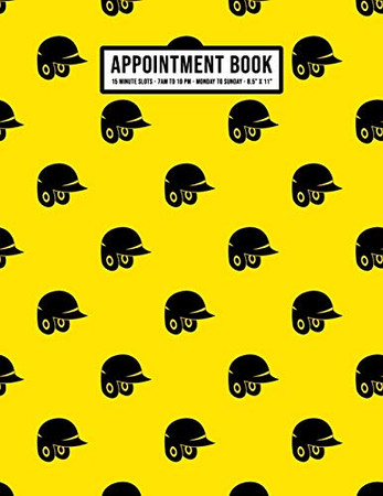 Softball Appointment Book: Undated Hourly Appointment Book   Weekly 7AM - 10PM with 15 Minute Intervals   Large 8.5 x 11