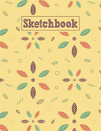 Sketchbook: 8.5 x 11 Notebook for Creative Drawing and Sketching Activities with Geometric Leaves Pattern Themed Cover Design
