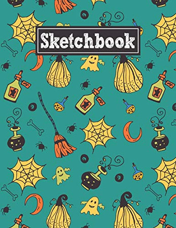 Sketchbook: 8.5 x 11 Notebook for Creative Drawing and Sketching Activities with Halloween Party Themed Cover Design