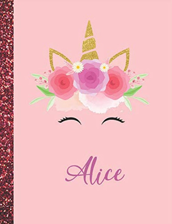 Alice: Alice Marble Size Unicorn SketchBook Personalized White Paper for Girls and Kids to Drawing and Sketching Doodle Taking Note Size 8.5 x 11
