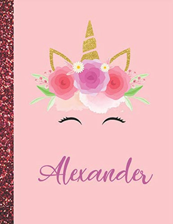 Alexander: Alexander Marble Size Unicorn SketchBook Personalized White Paper for Girls and Kids to Drawing and Sketching Doodle Taking Note Size 8.5 x 11