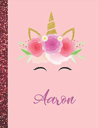 Aaron: Aaron Marble Size Unicorn SketchBook Personalized White Paper for Girls and Kids to Drawing and Sketching Doodle Taking Note Size 8.5 x 11
