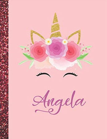 Angela: Angela Marble Size Unicorn SketchBook Personalized White Paper for Girls and Kids to Drawing and Sketching Doodle Taking Note Size 8.5 x 11