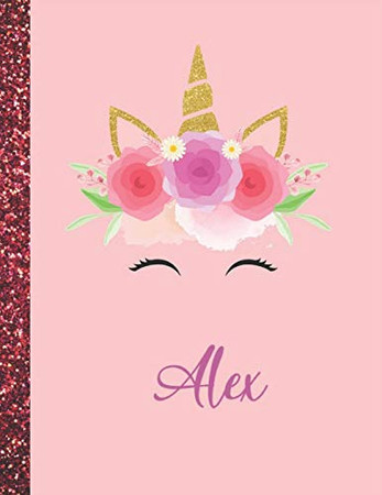 Alex: Alex Marble Size Unicorn SketchBook Personalized White Paper for Girls and Kids to Drawing and Sketching Doodle Taking Note Size 8.5 x 11